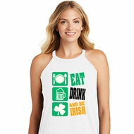 St Patricks Day Eat Drink Be Irish Ladies Tri Rocker Tank Top