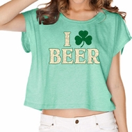 St Patricks Day I Love Beer Ladies Boxy Tee