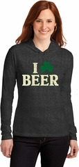 St Patricks Day I Love Beer Ladies Long Sleeve Hooded Shirt