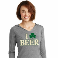 St Patricks Day I Love Beer Ladies Tri Long Sleeve Hoodie