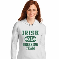 St Patricks Day Irish Drinking Team Ladies Long Sleeve Hooded Shirt