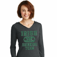 St Patricks Day Irish Drinking Team Ladies Tri Long Sleeve Hoodie