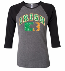 St Patricks Day Ladies Shirt Distressed Irish Shamrock Raglan Tee