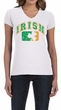 St Patricks Day Ladies Shirt Distressed Irish Shamrock V-neck Tee