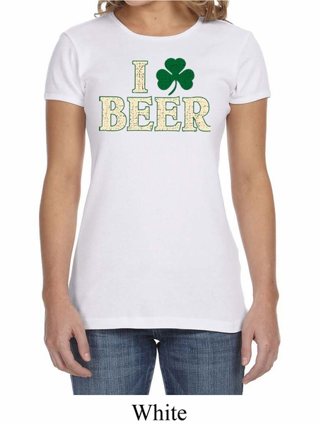 St patricks day ladies shirt i love beer crewneck tee t for I love beer t shirt