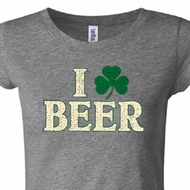 St Patricks Day Ladies Shirt I Love Beer Longer Length Tee T-Shirt