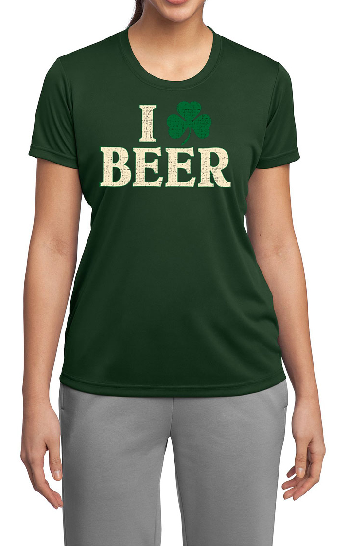 St patricks day ladies shirt i love beer moisture wicking for I love beer t shirt