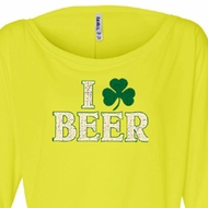 St Patricks Day Ladies Shirt I Love Beer Off Shoulder Tee T-Shirt