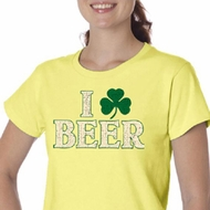 St Patricks Day Ladies Shirt I Love Beer Organic Tee T-Shirt