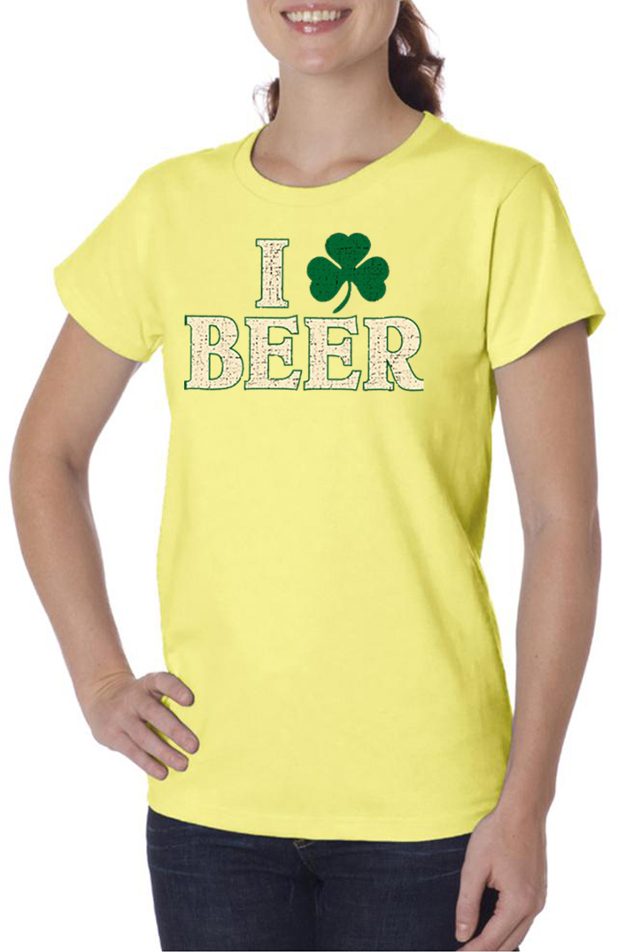 St patricks day ladies shirt i love beer organic tee t for I love beer t shirt