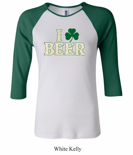 St patricks day ladies shirt i love beer raglan tee t for I love beer t shirt