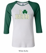 St Patricks Day Ladies Shirt I Love Beer Raglan Tee T-Shirt