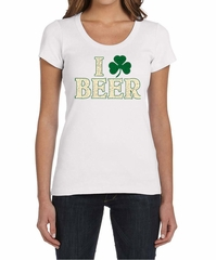 St Patricks Day Ladies Shirt I Love Beer Scoop Neck Tee T-Shirt