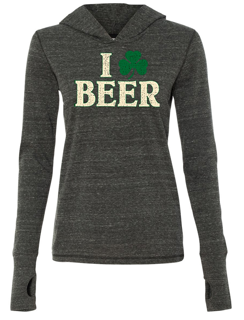 St patricks day ladies shirt i love beer tri blend hoodie for I love beer t shirt