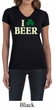 St Patricks Day Ladies Shirt I Love Beer V-neck Tee T-Shirt