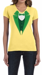St Patricks Day Ladies Shirt Irish Tuxedo V-neck Tee T-Shirt