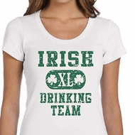 St Patricks Day Ladies Shirts Irish Drinking Team Scoop Neck Tee