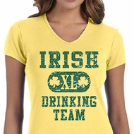 St Patricks Day Ladies Shirts Irish Drinking Team V-neck Tee T-Shirt