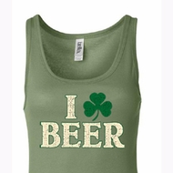 St Patricks Day Ladies Tanktop I Love Beer Longer Length Tank Top