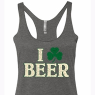 St Patricks Day Ladies Tanktop I Love Beer Tri Blend Racerback Tank