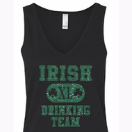 St Patricks Day Ladies Tanktop Irish Drinking Team Flowy V-neck Tank