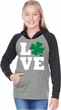 St Patricks Day Love Shamrock Girls Long Sleeve Hoodie