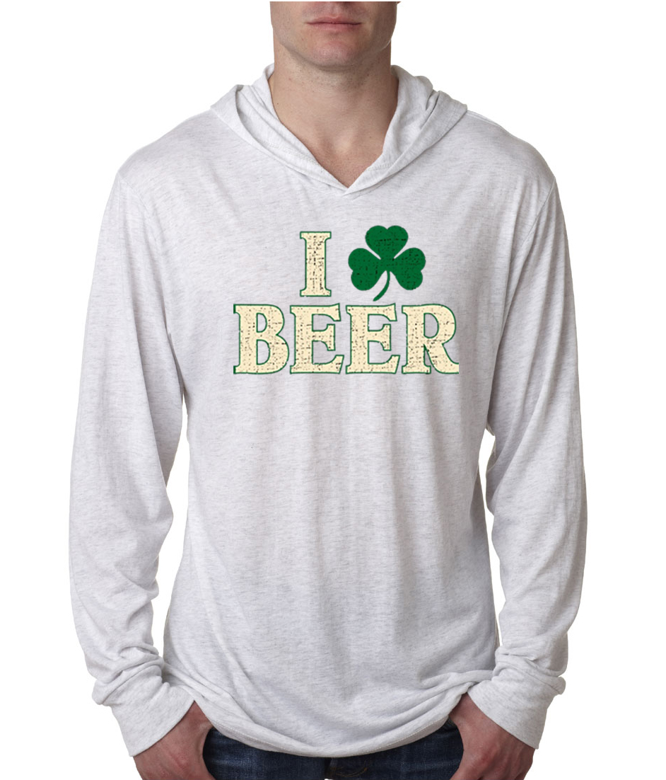 St patricks day mens shirt i love beer lightweight hoodie for I love beer t shirt