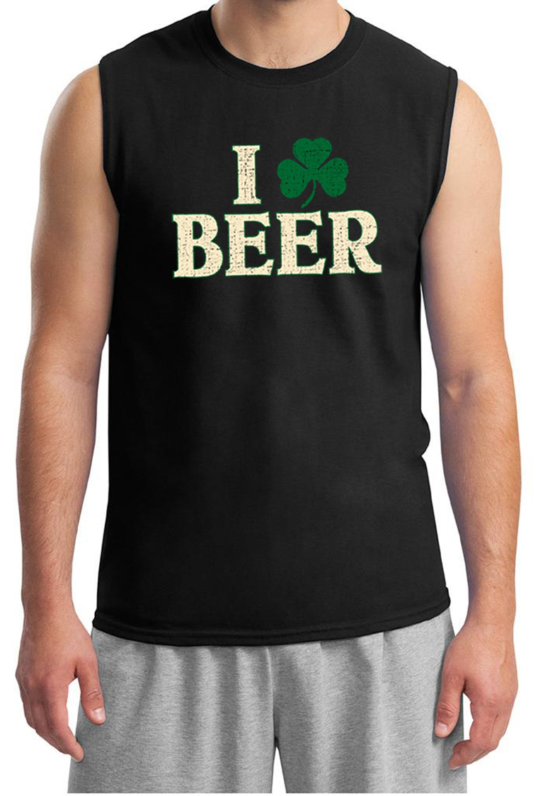 St patricks day mens shirt i love beer muscle tee t shirt for I love beer t shirt