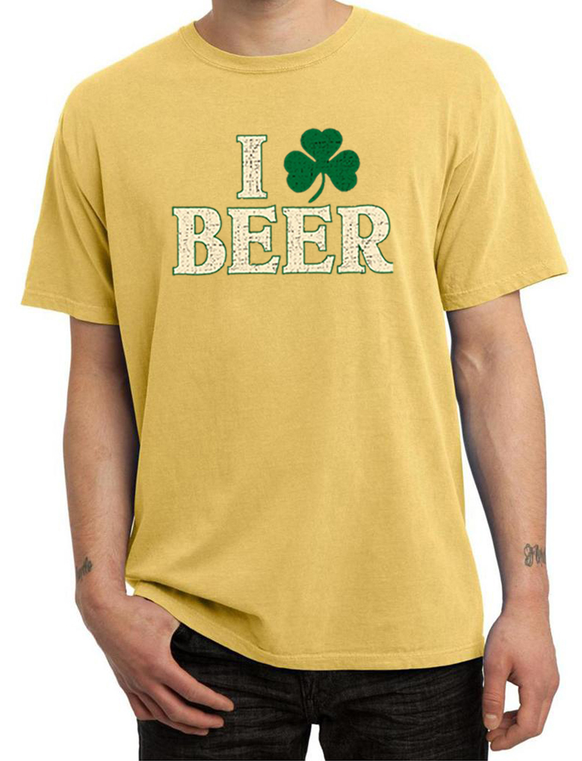 St patricks day mens shirt i love beer pigment dyed tee t for I love beer t shirt