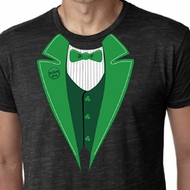 St Patricks Day Mens Shirt Irish Tuxedo Burnout Tee T-Shirt
