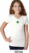 St Patricks Day Shamrock Sequins Small Print Girls V-neck