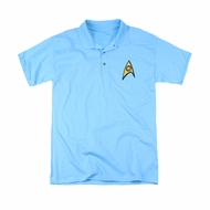 Star Trek Embroidered Polo Shirt Science Patch Carolina Blue
