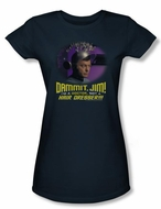 Star Trek Juniors Shirt Not A Hair Dresser Navy Blue Tee T-Shirt