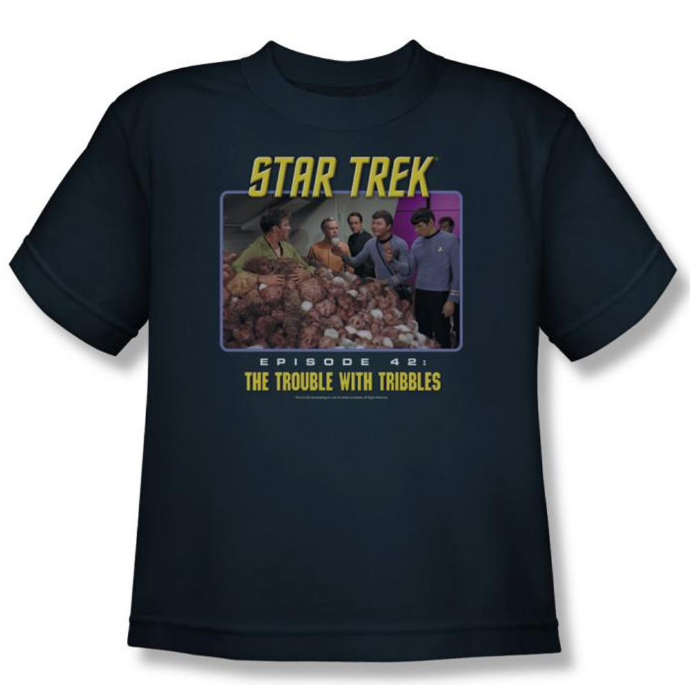 star trek kids shirt the trouble with tribbles navy youth. Black Bedroom Furniture Sets. Home Design Ideas