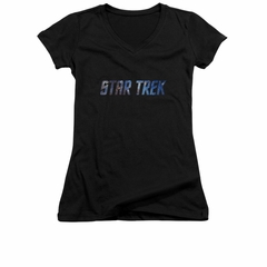 Star Trek Shirt Juniors V Neck Space Logo Black T-Shirt