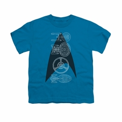 Star Trek Shirt Kids Line Of Ships Turquoise T-Shirt