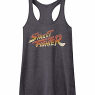 Street Fighter Juniors Tank Top Logo Heather Black Racerback