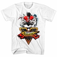 Street Fighter Shirt V Logo White T-Shirt