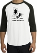 Stunts Crashing Falling Raglan Shirt White/Black - Black Print