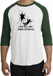 Stunts Crashing Falling Raglan Shirt White/Forest - Black Print