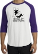 Stunts Crashing Falling Raglan Shirt White/Purple - Black Print
