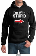 Stupid Hoodie I�m With Stupid White Print Adult Hoody