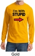 Stupid Shirt I'm With Stupid Black Print Adult Long Sleeve Shirt