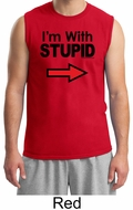 Stupid Shirt I�m With Stupid Black Print Funny Adult Muscle Shirt