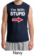 Stupid Shirt I�m With Stupid White Print Adult Muscle Shirt