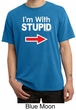 Stupid Shirt I'm With Stupid White Print Adult Pigment Dyed T-shirt