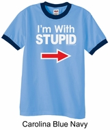 Stupid Shirt I�m With Stupid White Print Adult Ringer Shirt