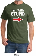 Stupid Shirt I�m With Stupid White Print Adult T-shirt