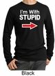 Stupid Shirt I'm With Stupid White Print Adult Thermal Shirt