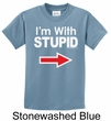 Stupid Shirt I'm With Stupid White Print Kids T-shirt